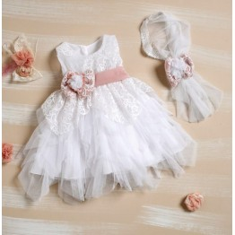 Bellissimo φόρεμα λευκό με σομόν ΡΟΥΧΑ