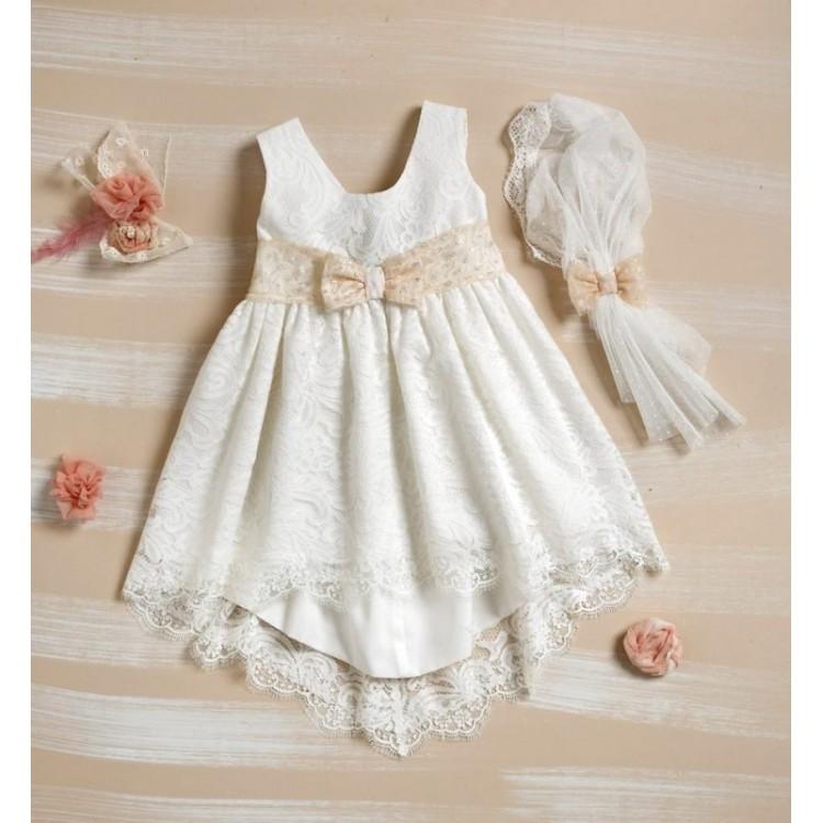 10ad8ff8bc94 Bellissimo φόρεμα με εκρού με μπέζ δαντέλα