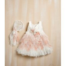 Bellissimo φόρεμα μπέζ με σομόν ΡΟΥΧΑ