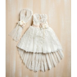Bellissimo φόρεμα μπέζ με ουρά ΡΟΥΧΑ