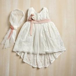 Bellissimo φόρεμα με εκρού με δαντέλα ΡΟΥΧΑ