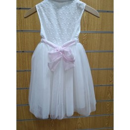 4df7a7d893e Vanessa Cardui Φόρεμα Μπροντερί Λευκό - Ρόζ ΡΟΥΧΑ