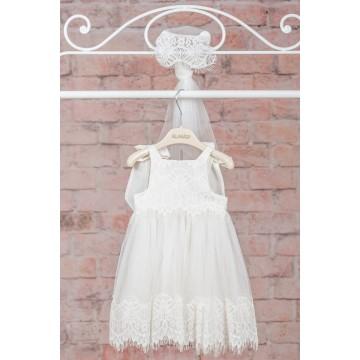 3167162fa12 Neonato Βαπτιστικά Φόρεμα με Τούλι & Δαντελένια Φάσα