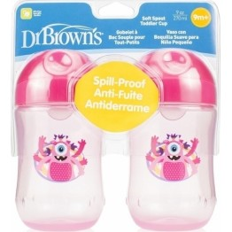 Dr Brown's Εκπαιδευτικό ποτηράκι σετ 2 τμχ ροζ ΕΚΠΑΙΔΕΥΤΙΚΑ ΚΥΠΕΛΛΑ