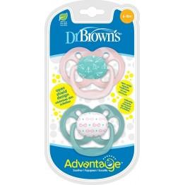 Dr. Brown's Advantage Σιλικόνης Pink/Veraman 6-18m 2τμχ ΠΙΠΙΛΕΣ - ΑΞΕΣΟΥΑΡ ΠΙΠΙΛΑΣ