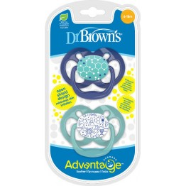 Dr. Brown's Advantage Σιλικόνης Blue/Green 6-18m 2τμχ ΠΙΠΙΛΕΣ - ΑΞΕΣΟΥΑΡ ΠΙΠΙΛΑΣ
