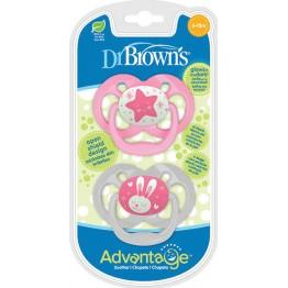 Dr. Brown's Advantage Night Σιλικόνης Pink Star 6-18m 2τμχ  ΠΙΠΙΛΕΣ - ΑΞΕΣΟΥΑΡ ΠΙΠΙΛΑΣ