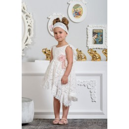 22f7f8889ac Neonato Βαπτιστικά Φόρεμα Ροζ Πέταλα ΡΟΥΧΑ