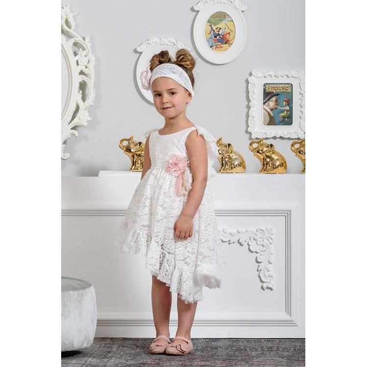 4cd6973b32f Neonato Φόρεμα βαπτιστικό όλο δαντέλα ασύμμετρο με βολάν