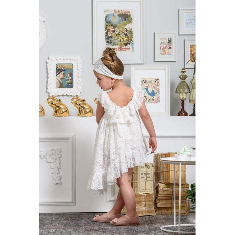 150f355db070 Neonato Φόρεμα βαπτιστικό όλο δαντέλα ασύμμετρο με βολάν